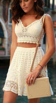 Keeping it fresh in White Crochet all summer! #summertrends #allwhite