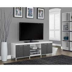 Monarch 60 in. Horizontal/Vertical Etagere / TV Console - Life is way more fun with you have options. Thankfully, the Monarch 60 in. Horizontal/Vertical Etagere / TV Console gives you plenty of room to. Interior Design Minimalist, Minimalist Bedroom, Minimalist Decor, Minimalist Living, Modern Minimalist, Minimalist Kitchen, Grey Cabinets, Tv Cabinets, Storage Cabinets