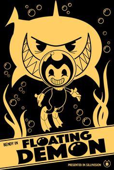 "BENDY AND THE INK MACHINE WINNING POSTER. ""Floating Demon"". CHAPTER 5 - Fan Art Contest Winner. Created by Damian & Miranda Hadyi.  #batim #bendy #bendyandtheinkmachine #cartoon #humor #poster #videogames #tshirt #flashcookie"