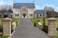Mix of Donegal and Omagh Sandstone - Mix of Donegal and Omagh Sandstone - Modern Bungalow Exterior, Stone Exterior Houses, Modern Farmhouse Exterior, 2 Storey House Design, Bungalow House Design, Modern House Design, Stone Front House, House Front, House Designs Ireland