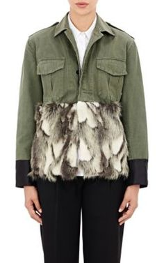 Harvey Faircloth Faux-Fur-Embellished Field Jacket at Barneys New York