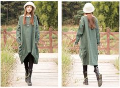 plus size dress cotton linen dress long maxi dress by JulyFlower