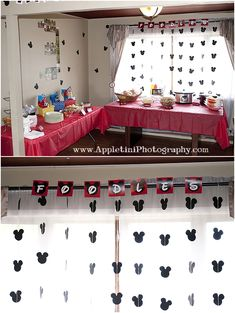Mickey Mouse Party decor!  Mickey Mouse garland... CUTE!