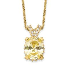 Sterling Silver Gold-tone White and Yellow CZ Necklace / STYLE: N0204GPCAZCZ #SterlingSilver #CZJewelry