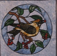 stained glass bird quilt