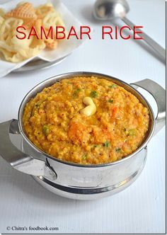 Sambar sadam recipe/ Sambar rice - An easy one pot meal made in pressure cooker packed with flavours. A great South Indian lunch recipe with step by step pictures. Veg Recipes, Lunch Recipes, Indian Food Recipes, Breakfast Recipes, Cooking Recipes, Kerala Recipes, Curry Recipes, Vegetarian Recipes, Recipies