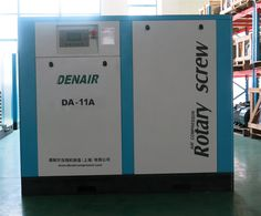 DENAIR Standard Oil-injected Screw Air Compressor  Model: DA-11 Working Pressure(Mpa): 0.75 Air Delivery(m3/min): 1.81 Voltage and IP Grade: 380V IP54 Starting Method: Belt/Air Cooling Noise: 63±2 Dimensions LxWxH(mm): 800x850x1000 Weight(kg): 400 Outlet Pipe Diameter: G3/4 EEI: EEI2 Qualification And Quality Certificate: GC energy-saving Certification, CE European Union standard Certification, ISO9001 the United Kingdom LRQA Certification