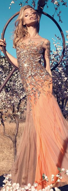 Blumarine S/S 2013. light coral, peach color with silver details. flowy, light, fresh, spring.   ღ♥Please feel free to repin ♥ღ  www.fashionandclothingblog.com