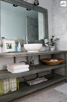 Bathroom/Master bathroom  idea--open shelving, big mirror, gray tile. Don't really like the bowl sink...maybe something more square/rectangle, lower.