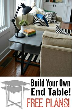 Build your own end table with these free plans.  Great beginner building…