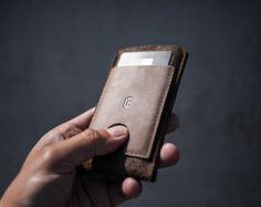 NEW! Samsung Galaxy S3/S4 / LG Nexus 5 / HTC One / Wallet Sleeve / Case - Caramel Brown Wool Felt and Premium Leather