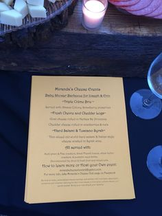 The cheese course menu for the baby shower that Miranda's Cheese Club hosted!