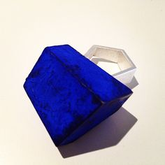 BABETTE VON DOHNANYI -  olive wood painted in blue and silver ring  --   at http://www.ohmyblue.it/