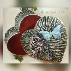 Mixed Media Art - Large Heart Box for memories or keepsakes by Heather's Craft Studio.