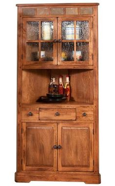 Amish Unfinished Solid Pine Corner Hutch China Cabinet Country Classy Unfinished Corner Cabinets For Dining Room Review