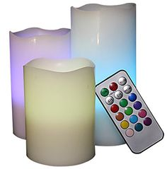 LED Lytes Flameless Candles, Multi Color Changing Option Battery Operated Set of 3 Ivory Wax and Remote