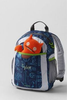 Just ordered Liam's new backpack.  It will have his name and comes with a new Ugly Doll.      Boys' My First Gadgets Print Backpack from Lands' End