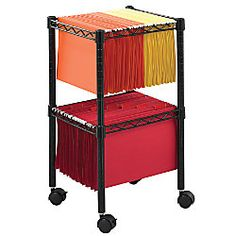 $70 Safco Mobile Wire 2 Tier Compact File Cart 27 12 H x 15 12 W x 14 D Black by Office Depot & OfficeMax