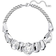 Swarovski Silver-Tone Oval Crystal and Metallic Statement Necklace ($349) ❤ liked on Polyvore featuring jewelry, necklaces, silver, crystal statement necklace, silvertone jewelry, crystal bib statement necklace, swarovski necklace and crystal necklace