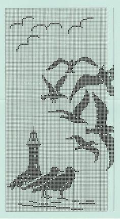 Beautiful designextended it would make a lovely wrap - cartoon häkeln vorlagen maritim Filet Crochet, Crochet Cross, Crochet Chart, Cross Stitch Bird, Cross Stitching, Cross Stitch Embroidery, Cross Stitch Patterns, Nautical Crochet, Swedish Weaving