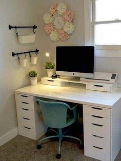 Table Bureau Ikea, Ikea Desk, Ikea Alex Desk, Ikea Linnmon Desk, Diy Desk, Bedroom Desk, Room Ideas Bedroom, Ikea Room Ideas, Diy Bedroom