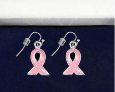Pink Ribbon Earrings Wholesale, Breast Cancer Ribbon Earrings