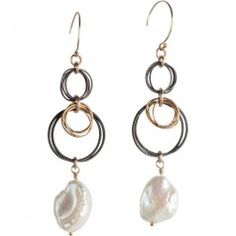 Tracy Arrington E124 GO Earrings available at www.poppyarts.com!  $128 The new look of classic in oxidized silver, 14K gold fill and fresh water pearls.  #classic #tracyarrington #poppymadebyhand