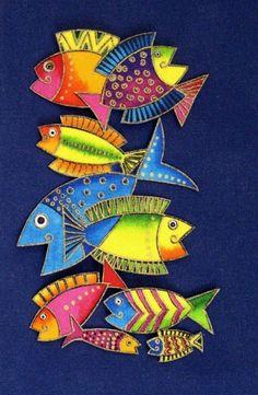 Iron On Tropical FISH Applique * Handmade * Very Rare Laurel Burch Ocean Fabric . Laurel Burch Fabric, Ocean Fabric, Fabric Fish, Fish Design, Arte Popular, Fish Art, Tropical Fish, Colorful Fish, Silk Painting