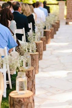 rustic country creative DIY decorations with florals for wedding ceremony