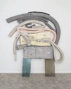 Destiny by Dave Hardy, 2014 glass, cement, polyurethane foam, tint, tape, pen, marker, glue stick, and pretzel 94 x 75 x 8 inches