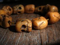 Old Tibetan Yak bone Skull mala beads