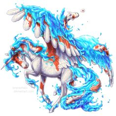 Day 17 - Koi splash by BronzeHalo on DeviantArt Mythical Creatures Art, Magical Creatures, Fantasy Creatures, Beautiful Creatures, Horse Drawings, Animal Drawings, Cool Drawings, Unicorn Fantasy, Unicorn Art