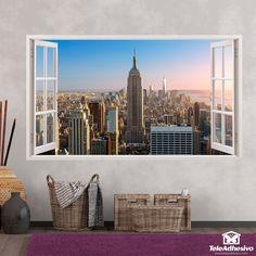 Vinilos decorativos de ventanas en Teleadhesivo Empire State Building, Versace Wallpaper, New York Skyline, Froggy Stuff, Frame, Painting, Tattoos, Home Decor, Window Frames