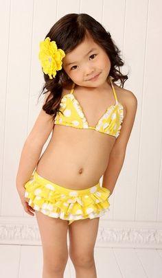 Beach Rey's Yellow and White Polka Dot Bikini