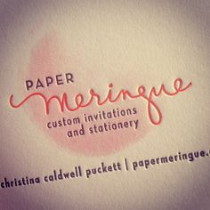 Paper Meringue business cards mix flat printed watercolor with letterpress for a beautiful effect.