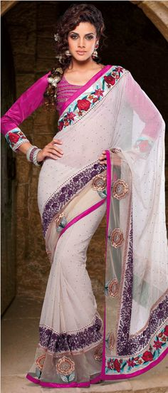 #White Faux Georgette #Saree with Blouse @ $102.46