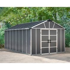 The Yukon Storage Shed with the WPC Floor Kit provides you with ultimate performance and endless usability. This ultra-tough, utility shed is durable and perfect for storing organizing and protecting your outdoor life, keeping your valuables dry and protected. It is engineered for life with an aluminum frame and virtually unbreakable poly-carbonate walls and will provide years of maintenance-free protection. The Yukon sheds are designed to withstand extreme weather conditions. The unique roof pa Outdoor Storage Sheds, Shed Storage, Outdoor Life, Outdoor Living, Outdoor Toys, Utility Sheds, Plastic Sheds, Shed Construction, Shed Floor