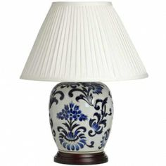 Lydia Blue On White Pattern Ceramic Table Lamp