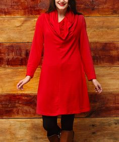Another great find on #zulily! Red Convertible Long Sleeve Tunic - Plus Too #zulilyfinds