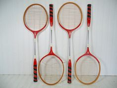 Retro Wooden Badminton Rackets Matching Set of 4  Vintage