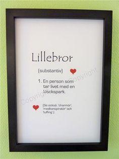 Poster Väggord Typografi LILLEBROR, Shabby, Lantlig, Copyright