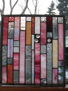 4 stained glass windows to match larger stained glass window PINKS Custom for the Claxtons. via Etsy.