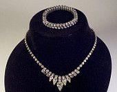 Weiss demi-parure rhinestone necklace and bracelet