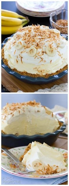 This fluffy banana cream pie recipe is piled high with fresh ripe bananas and creamy vanilla filling, then topped with pillowy whipped cream and toasted co #dessert #recipe #sweet #easy #recipes