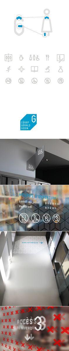 Cégep Gérald-Godin — Signage & Wayfinding System on Behance - created via http://pinthemall.net