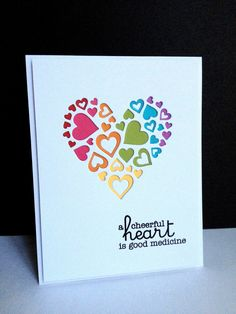 I used an Impression Obsession die, Heart of Hearts, to make four different cards for different occasions...thinking...hearts are  love, b...