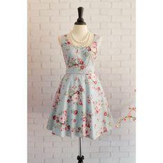 Blue Dress Floral Dress Blue Sundress Floral Summer Dress Blue... ($45) ❤ liked on Polyvore featuring dresses, grey, women's clothing, cotton sundresses, grey bridesmaid dresses, blue summer dress, gray bridesmaid dresses and sun dresses