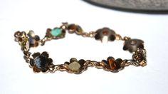 Brass Flower and Gemstone Tennis Bracelet, Linked, Chain, Antique Alchemy on Etsy, $13.60 CAD