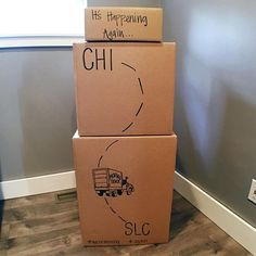 Cute moving announcement. Moving from Chicago to Salt Lake City. #weremoving #movingboxes