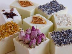 Essences handmade soaps with dried flowers and nuts